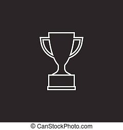 Trophy cup flat vector icon in line style. Simple winner symbol. White illustration isolated on black background.
