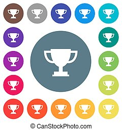 Trophy cup flat white icons on round color backgrounds