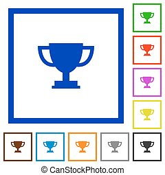 Trophy cup framed flat icons