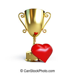 trophy cup heart 3d Illustrations on a white background