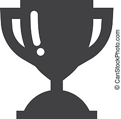 Trophy cup icon in black on a white background. Vector illustration