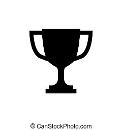 Trophy cup icon in flat style Simple winner symbol
