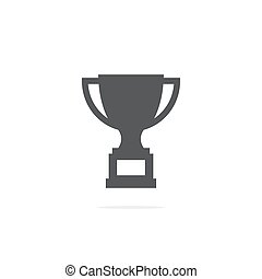 Trophy cup icon on white background