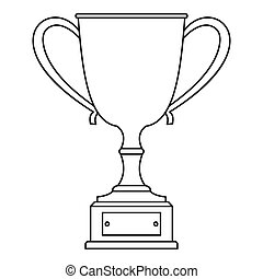 Trophy cup icon, outline style