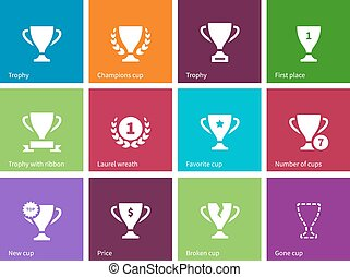 Trophy cup icons on color background.
