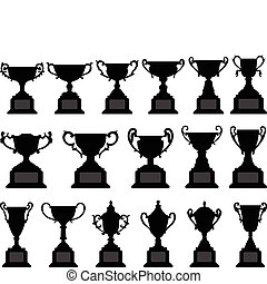 Trophy Cup Silhouette Black Set - A set of trophy design in...