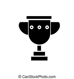 trophy cup simple icon, vector illustration, black sign on isolated background