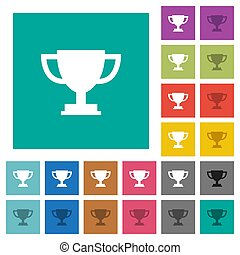 Trophy cup square flat multi colored icons