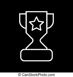 Trophy cup with a star line icon. vector illustration isolated on black. outline style design, designed for web and app. Eps 10