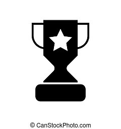 Trophy cup with a star solid icon. vector illustration isolated on white. glyph style design, designed for web and app. Eps 10