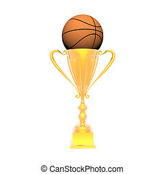 trophy cup with basket ball isolated on a white