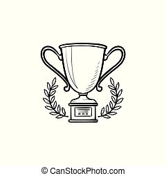Trophy cup with laurel wreath hand drawn outline doodle icon.