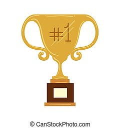 trophy cup with number one on white background