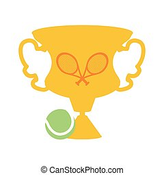 trophy cup with rackets and ball tennis