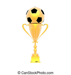 trophy cup with soccer ball isolated on a white