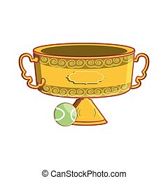 trophy cup with tennis ball isolated icon