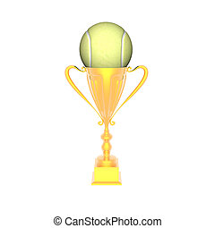 trophy cup with tennis ball isolated on a white