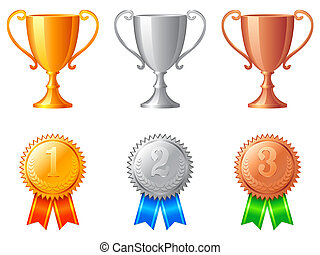 Set of golden, silver and bronze trophy cups and medals, isolated on white background.