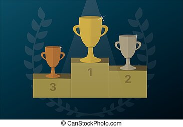 Trophy cups on a pedestal with Laurel wreath. Award icon vector