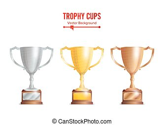 Trophy Cups Set. Golden, Bronze, Silver Colours.