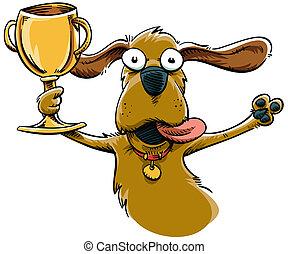A winning cartoon dog celebrates with a trophy.