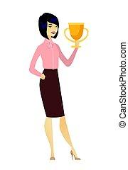 trophy., donna, affari asiatici, presa a terra