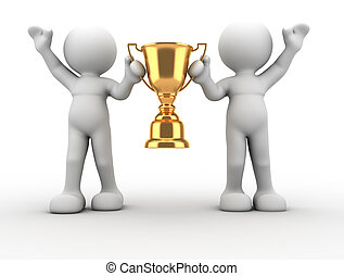 Trophy - 3d human icon holding golden trophy - This is a 3d...