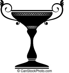 Trophy - Vector silhouette of a trophy isolated on white....