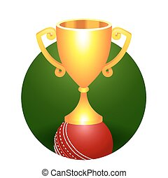 Trophy gold cricket cup on a green background