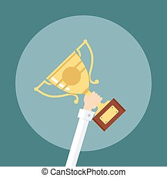 Trophy, hands holding winner cup. The award for first place. Vector illustration in cartoon style flat.  of precious metal with highlights.