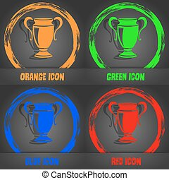 Trophy icon. Fashionable modern style. In the orange, green, blue, red design. Vector