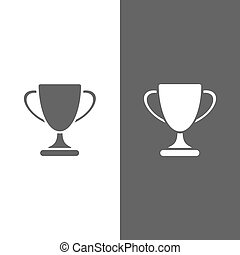 Trophy icon on black and white background