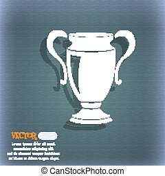 Trophy icon. On the blue-green abstract background with shadow and space for your text. Vector