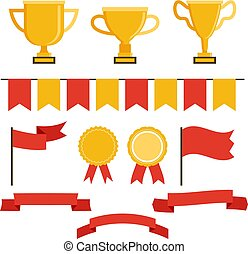 Trophy icon set in flat style. Vector illustration. For web, banner, applications.