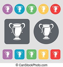 Trophy icon sign. A set of 12 colored buttons. Flat design. Vector