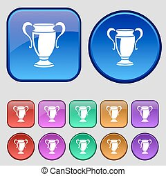 Trophy icon sign. A set of twelve vintage buttons for your design. Vector