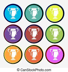 Trophy icon sign. Nine multi colored round buttons. Vector