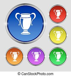 Trophy icon sign. Round symbol on bright colourful buttons. Vector