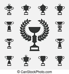 Trophy icons set