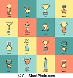 Trophy icons set flat line - Trophy icons flat line set of...