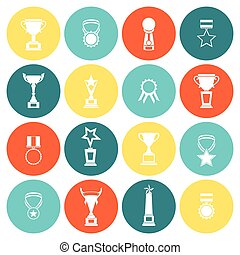 Trophy icons flat set of competition rewards winner prizes isolated vector illustration