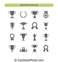 Trophy icons set on a white background