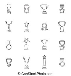 Trophy Icons Set Outline