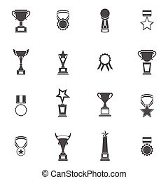Trophy Icons Set - Trophy icons black set of champion...