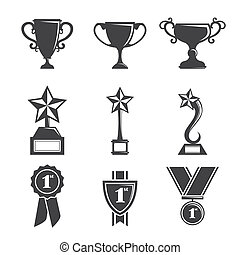 Trophy icons - A vector illustration of a set of trophy...