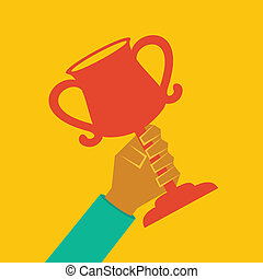 Trophy in hand stock vector