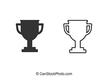 Trophy line icon set on white background. Vector