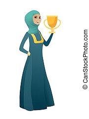 trophy., musulmano, holding donna, affari