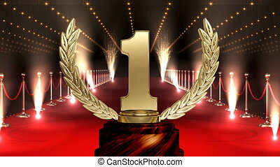 Trophy on red carpet with american flag Video