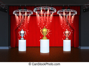 trophy on theater stage red curtain